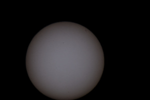 A test shot of the sun at 1,000 mm. Notice the sun spot in the top left.